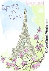 Vintage postcard with a view of the Eiffel tower and blossoming cherry. Color watercolor. Spring discounts.