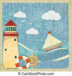 Vintage postcard with a yacht, a lighthouse and the wheel. eps10