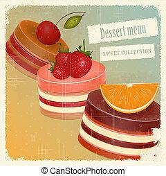 vintage postcard with cake