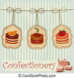 vintage postcard, cover menu confectionery - Strawberry, chocolate and cherry Cake - vector illustration