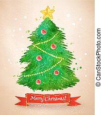 Vintage postcard with Christmas tree