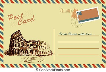 Vintage postcard with Colosseum,watercolor hand drawing