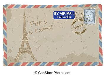 Vintage postcard with Eiffel Tower - Vintage grunge postcard...