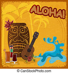 Vintage postcard with  featuring Hawaiian masks, guitars and cocktails. eps10
