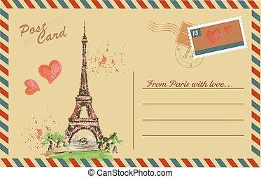Vintage postcard with Notre Dame