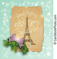 Vintage postcard with the eiffel tower, Handwritten calligraphic