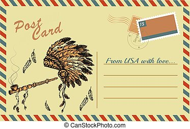 Vintage postcard with traditional Native American Peace Pipe and chief headdress, hand drawing, vector