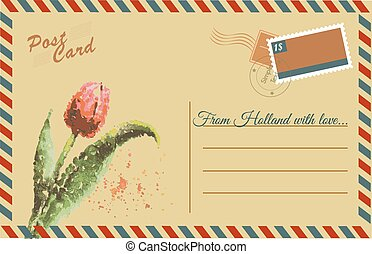 Vintage postcard with tulip