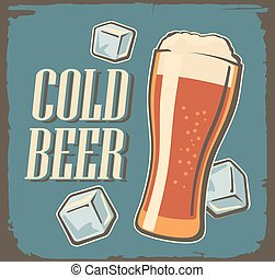Vintage poster cold beer and ice cube.
