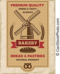 Vintage poster for bakery shop. Template with place for your text