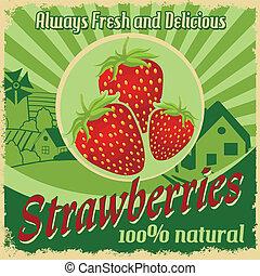 Vintage poster for strawberries farm - Vintage poster...