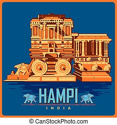 Vintage poster of Hampi in Karnataka famous monument of India