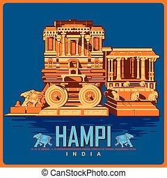 Vintage poster of Hampi in Karnataka famous monument of India