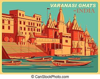 Vintage poster of Varanasi Ghats of Uttar Pradesh famous...
