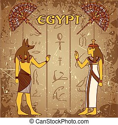 poster set with egyptian god, phara