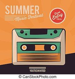 vintage poster summer music festival cassette