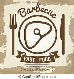 Vintage poster with babecue label with meat, fork, knife and lettering sign