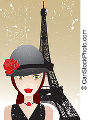 Vintage poster with beautiful girl in paris -retro poster template