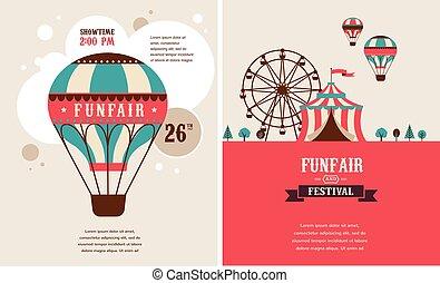 vintage poster with carnival, fun fair, circus vector ...