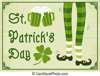 Vintage poster with clover for Patrick's day