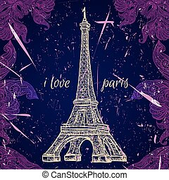 Vintage poster with Eiffel Tower