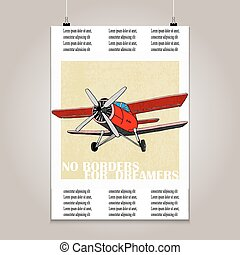 Vintage poster with high detail  plane. Grunge texture and motivation phrase.