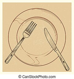 Vintage poster with knife, fork, plate