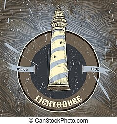 Vintage poster with lighthouse