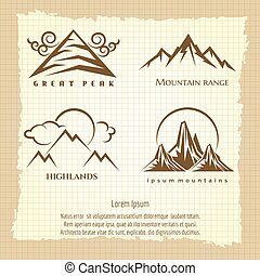 Vintage poster with mountain logo design