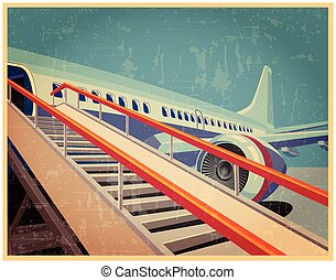 Vintage poster with plane