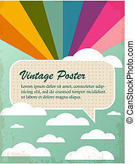vintage poster with rainbow and clo