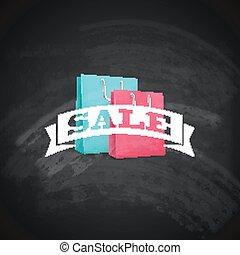 vintage poster with shopping bag. sale concept. vector illustration, chalkboard texture
