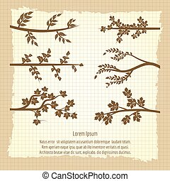 Vintage poster with tree branches silhouette