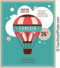 vintage poster with vintage air balloon, fun fair, circus vector background