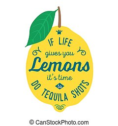 Motivation quote about lemons - Vintage posters set....