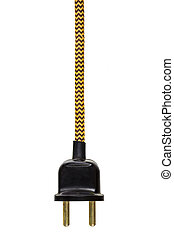 Vintage power plug with yellow cord isolated on white
