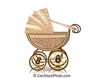 vintage pram. retro-styled baby carriage. 10 EPS