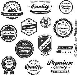 Vintage premium badges - Set of vintage retro premium...