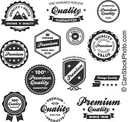 Vintage premium badges - Set of vintage retro premium ...