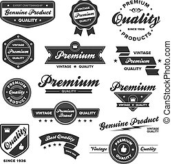 Vintage premium badges - Set of vintage retro premium...