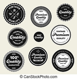 Vintage premium quality badges - Set of vintage retro...