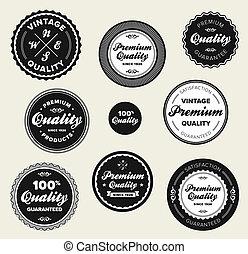 Vintage premium quality badges - Set of vintage retro...
