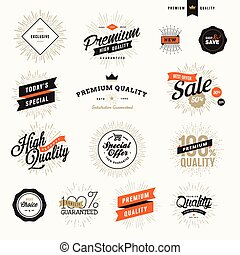 Vintage premium quality labels and badges