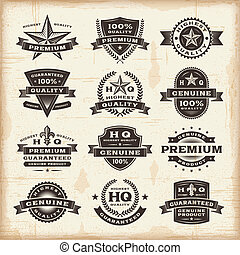 A set of fully editable vintage premium quality labels in woodcut style. EPS10 vector illustration.