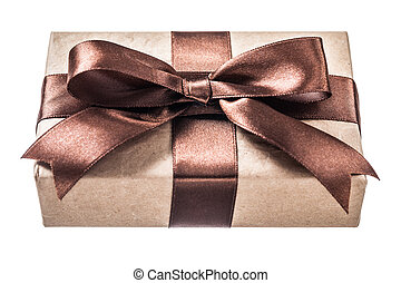 Vintage present box with brown knot isolated on white.