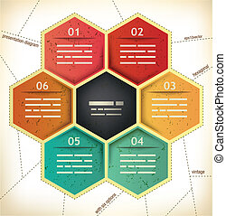 Vintage Presentation Template with six hexagonal spaces for different data