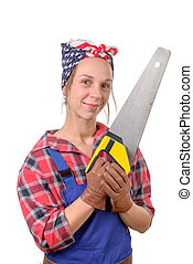 Vintage pretty young woman with a saw