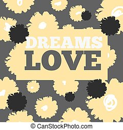 Vintage print and text love. For t-shirt or other print design. Vector illustration.