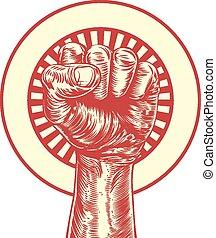 Vintage propaganda fist - An original illustration of a fist...