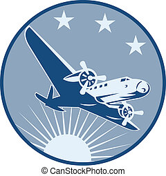 Vintage Propeller Airplane Retro - Illustration of a vintage...